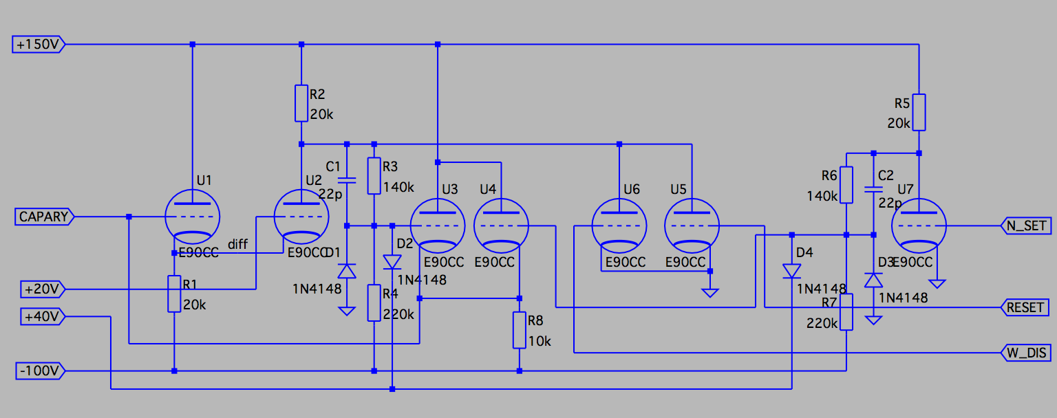 Building A Vacuum Tube Computer Logic 7 Amp Diagram When Pulse Of At Least 20v Is Gotten On The Input Column Amplifier It Will Trigger Feedback Loop That Recharge Capacitor